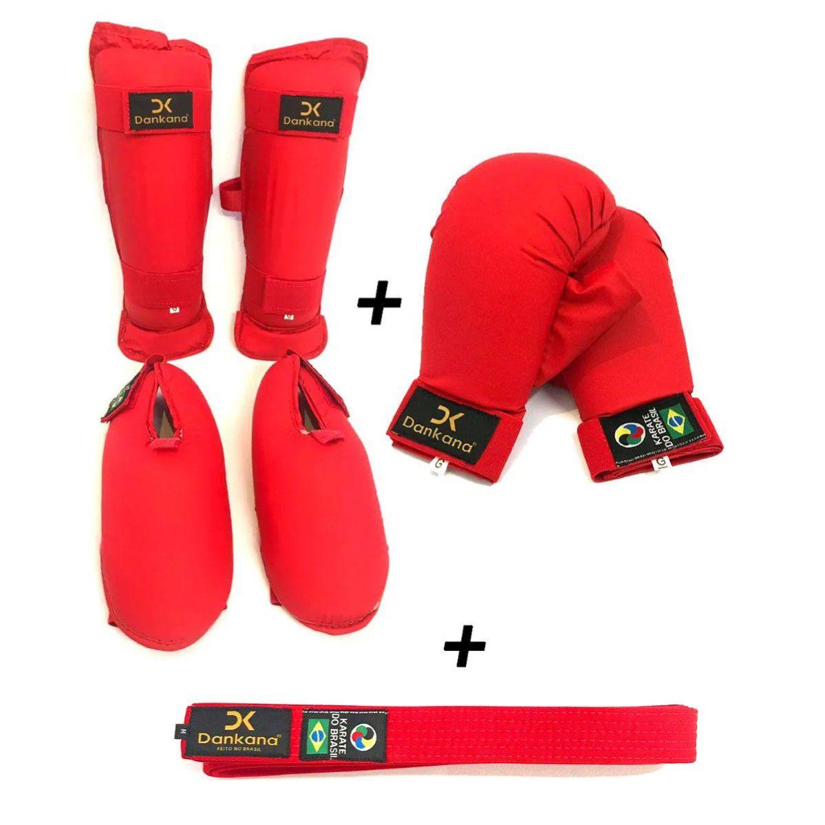 Protetor de Canela e Pé Olímpico + Protetor de Mão + Faixa Simples - Homologado pela CBK