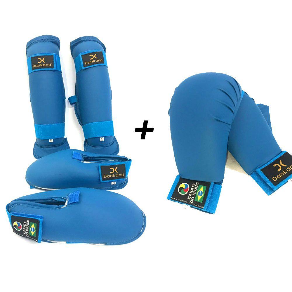 Protetor de Canela e Pé Olímpico + Protetor de Mão - Homologado pela CBK