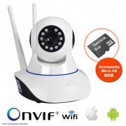 Câmera IP Sem Fio Wifi HD 720p Robo Wireless Visão Noturna Com Micro SD 8GB