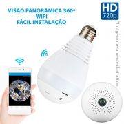 Câmera Lâmpada Panorâmica, 360º, Wifi Sem Fio, HD 720p, Grava em Cartão SD, Microfone e Alto Falante Embutido