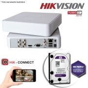 DVR Stand Alone Hikvision 04 Canais 720p Turbo HD + HD 2TB WD Purple de CFTV