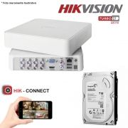 DVR Stand Alone Hikvision 08 Canais 720p Turbo HD + HD 500GB Pipeline de CFTV