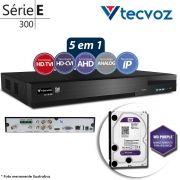 DVR Tecvoz TWE304 4Ch 720p Flex 5 em 1 AHD + HD WD 2TB Purple de CFTV