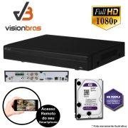 DVR UltraHD Visionbras XVR 5104 4 Canais 1080P + HD 1TB WD Purple de CFTV