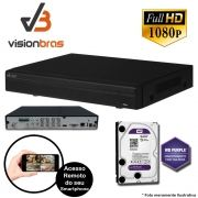 DVR UltraHD Visionbras XVR 5108 8 Canais 1080P + HD 2TB WD Purple de CFTV