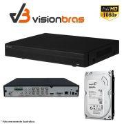 DVR UltraHD Visionbras XVR 5108 8 Canais 1080P + HD 500GB Pipeline Pul de CFTV