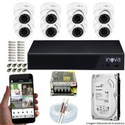 Kit Cftv 08 Câmeras Inova MULTHD 1020D Dome 720p Dvr 08 Canais Inova 1080N Mult-HD + HD 2TB