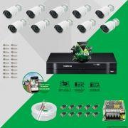 Kit Cftv 10 AHD-M Câmeras 720p Dvr 16 Canais MHDX Intelbras 5 em 1 + ACESSORIOS