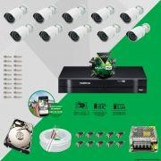 Kit Cftv 10 AHD-M Câmeras 720p Dvr 16 Canais MHDX Intelbras 5 em 1 + HD 1TB