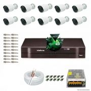 Kit Cftv 10 Câmeras 1.3MP 720p Dvr 16 Canais MHDX Intelbras 5 em 1 + ACESSORIOS