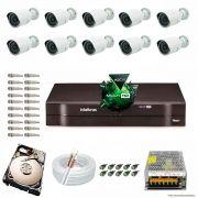 Kit Cftv 10 Câmeras 1.3MP 720p Dvr 16 Canais MHDX Intelbras 5 em 1 + HD 1TB