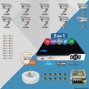 Kit Cftv 10 Câmeras Bullet CCD Infravermelho 3,6MM 1200L Dvr 16Ch Newprotec 5x1+ Acessórios