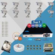 Kit Cftv 10 Câmeras Bullet CCD Infravermelho 3,6MM 1200L Dvr 16Ch Newprotec 5x1+ HD 2 TB