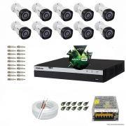 Kit Cftv 10 Câmeras VHD 1220B 1080P 3,6mm DVR Intelbras MHDX 3016 + ACESSORIOS