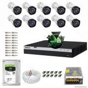 Kit Cftv 10 Câmeras VHD 1220B 1080P 3,6mm DVR Intelbras MHDX 3016 + HD 1TB BARRACUDA