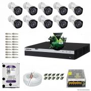 Kit Cftv 10 Câmeras VHD 1220B 1080P 3,6mm DVR Intelbras MHDX 3016 + HD 2TB WDP