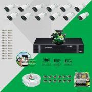 Kit Cftv 12 AHD-M Câmeras 720p Dvr 16 Canais MHDX Intelbras 5 em 1 + ACESSORIOS