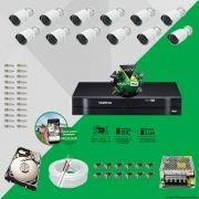 Kit Cftv 12 AHD-M Câmeras 720p Dvr 16 Canais MHDX Intelbras 5 em 1 + HD 320GB