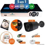 Kit Cftv 12 Câmeras 1080p IR BULLET NP 1000 Dvr 16 Canais Newprotec 5 em 1 + HD 500GB