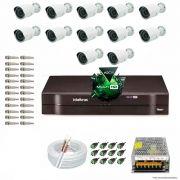 Kit Cftv 12 Câmeras 1.3MP 720p Dvr 16 Canais MHDX Intelbras 5 em 1 + ACESSORIOS
