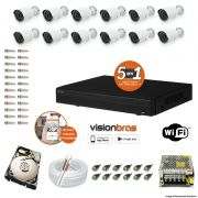 Kit Cftv 12 Câmeras AHD-M 720P 3,6MM Dvr 16 Canais Visionbras XVR 720p + HD 320GB