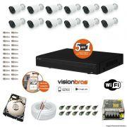 Kit Cftv 12 Câmeras AHD-M 720P 3,6MM Dvr 16 Canais Visionbras XVR 720p + HD 500GB