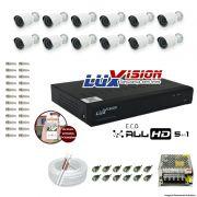 Kit Cftv 12 Câmeras AHD-M 720p Dvr 16 Canais Luxvision 5 em 1 + ACESSORIOS