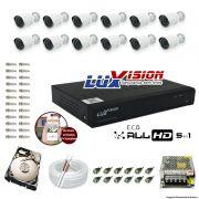 Kit Cftv 12 Câmeras AHD-M 720p Dvr 16 Canais Luxvision 5 em 1 + HD 500GB