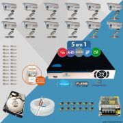 Kit Cftv 12 Câmeras Bullet CCD Infravermelho 3,6MM 1200L Dvr 16 Canais Newprotec + HD 1TB