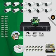 Kit Cftv 12 Câmeras Bullet Ir Cut 1500L Dvr 16 Canais Intelbras MHDX + ACESSÓRIOS