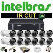 Kit Cftv 12 Câmeras Bullet Ir Cut 1500L Dvr 16 Canais Intelbras MHDX + HD 250 GB