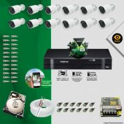 Kit Cftv 12 Câmeras Bullet Ir Cut 1500L Dvr 16 Canais Intelbras MHDX + HD 2 TB