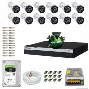 Kit Cftv 12 Câmeras VHD 1220B 1080P 3,6mm DVR Intelbras MHDX 3016 + HD 1TB BARRACUDA