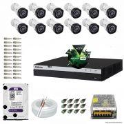 Kit Cftv 12 Câmeras VHD 1220B 1080P 3,6mm DVR Intelbras MHDX 3016 + HD 3TB WDP