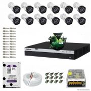 Kit Cftv 12 Câmeras VHD 1220B 1080P 3,6mm DVR Intelbras MHDX 3016 + HD 4TB WDP