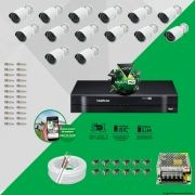 Kit Cftv 14 AHD-M Câmeras 720p Dvr 16 Canais MHDX Intelbras 5 em 1 + ACESSORIOS