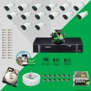 Kit Cftv 14 AHD-M Câmeras 720p Dvr 16 Canais MHDX Intelbras 5 em 1 + HD 500GB