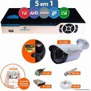Kit Cftv 14 Câmeras 1080p IR BULLET NP 1004 Dvr 16 Canais Newprotec 5 em 1 + ACESSORIOS