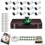Kit Cftv 14 Câmeras 1.3MP 720p Dvr 16 Canais MHDX Intelbras 5 em 1 + HD 500GB