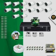 Kit Cftv 14 Câmeras Bullet Ir Cut 1500L Dvr 16 Canais Intelbras MHDX + ACESSÓRIOS