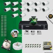 Kit Cftv 14 Câmeras Bullet Ir Cut 1500L Dvr 16 Canais Intelbras MHDX + HD 2 TB