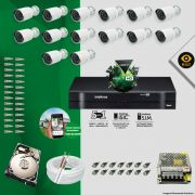 Kit Cftv 14 Câmeras Bullet Ir Cut 1500L Dvr 16 Canais Intelbras MHDX + HD 320 GB