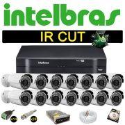 Kit Cftv 14 Câmeras Bullet Ir Cut 1500L Dvr 16 Canais Intelbras MHDX + HD 500 GB