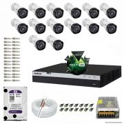Kit Cftv 14 Câmeras VHD 1220B 1080P 3,6mm DVR Intelbras MHDX 3016 + HD 2TB WDP