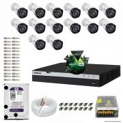 Kit Cftv 14 Câmeras VHD 1220B 1080P 3,6mm DVR Intelbras MHDX 3016 + HD 3TB WDP