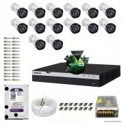 Kit Cftv 14 Câmeras VHD 1220B 1080P 3,6mm DVR Intelbras MHDX 3016 + HD 4TB WDP