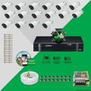 Kit Cftv 16 AHD-M Câmeras 720p Dvr 16 Canais MHDX Intelbras 5 em 1 + ACESSORIOS