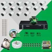 Kit Cftv 16 AHD-M Câmeras 720p Dvr 16 Canais MHDX Intelbras 5 em 1 + HD 320GB