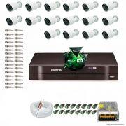 Kit Cftv 16 Câmeras 1.3MP 720p Dvr 16 Canais MHDX Intelbras 5 em 1 + ACESSORIOS