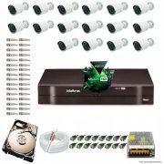 Kit Cftv 16 Câmeras 1.3MP 720p Dvr 16 Canais MHDX Intelbras 5 em 1 + HD 250GB
